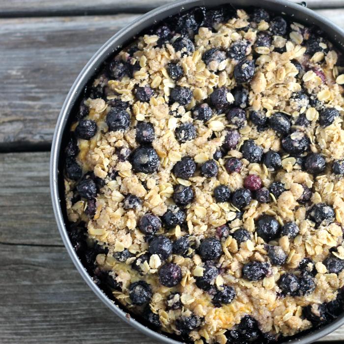 Blueberry Honey Oat Breakfast Cake