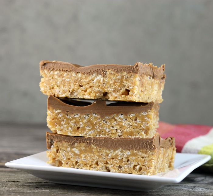 Peanut butter Rice Krispie treats, there is no baking involved, which makes them perfect for summer.