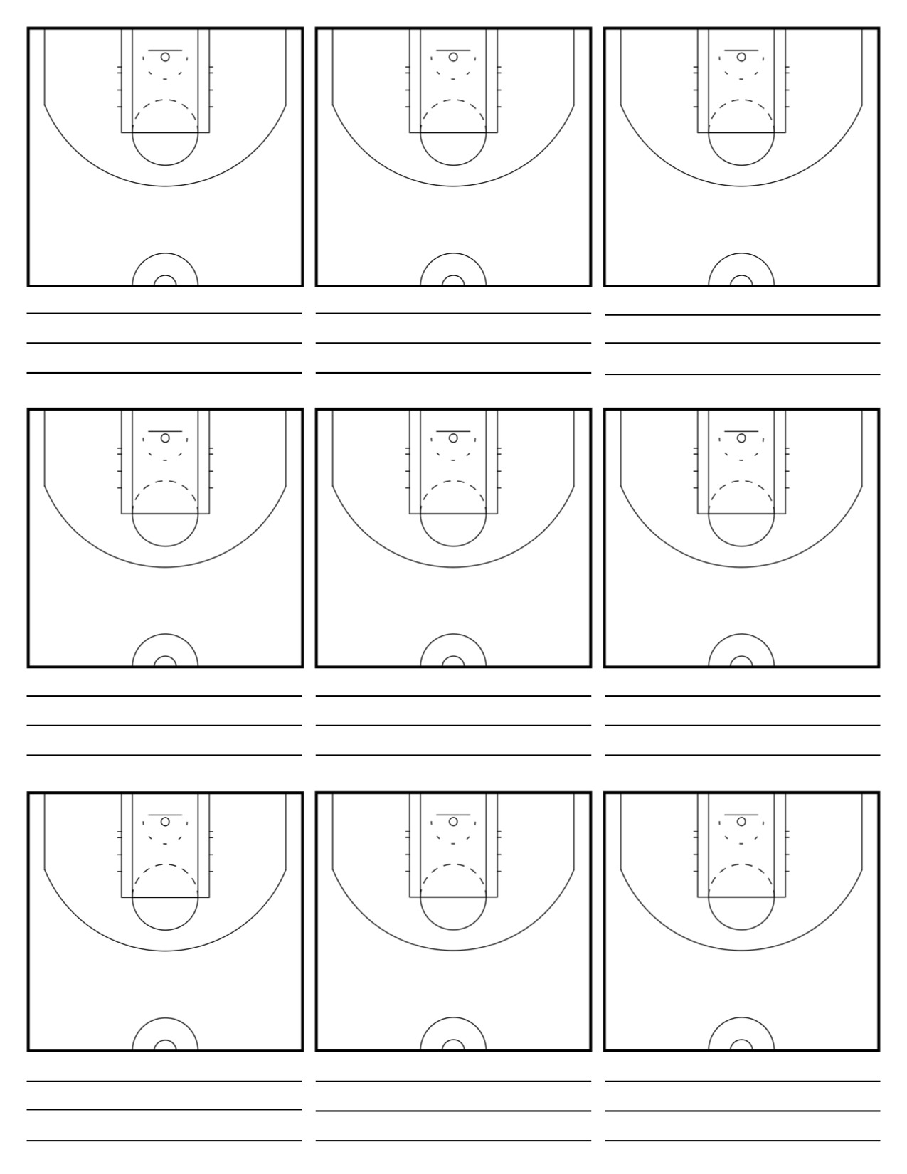 image relating to Printable Basketball Court Diagram known as Basketball Playbook Template. courtroom diagrams teach 39 s