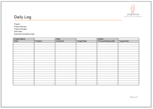 project log template image 2