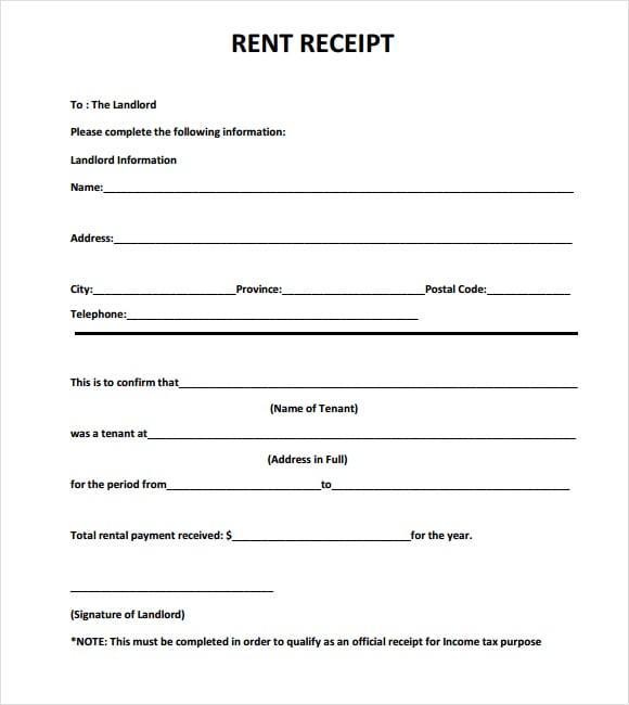 rent receipt template image 2