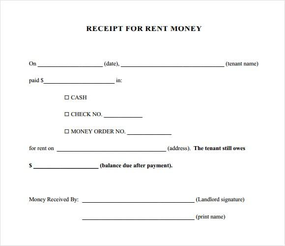 rent receipt template image 3