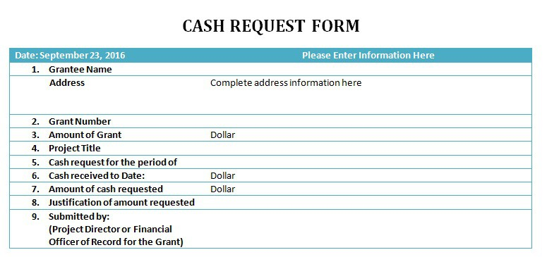 Cash Request Slip Template - Excel Pdf Formats