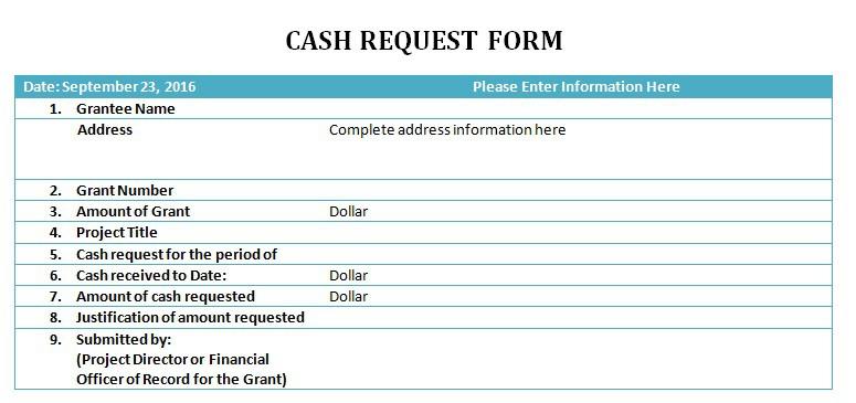 Cash Request Slip Template  Cash Receiving Format