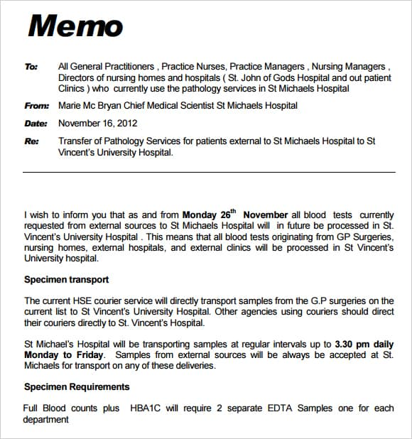 Free Memo Templates Word And Excel  Excel Pdf Formats