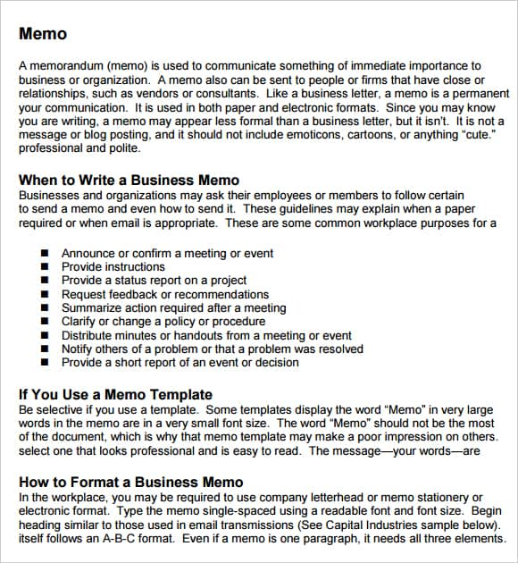 Business Memo. 8+ Examples Of Memo | Musician Resume Examples Of