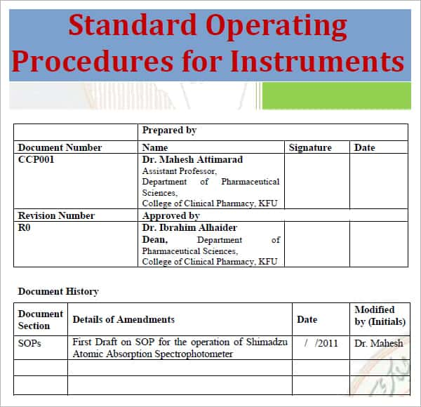 Standard Operating Procedure Template  Excel  Formats