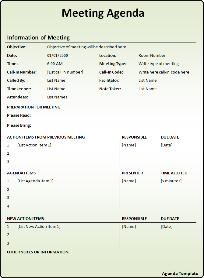 Best Agenda Template meeting agenda templates for microsoft word – Template of Meeting Agenda