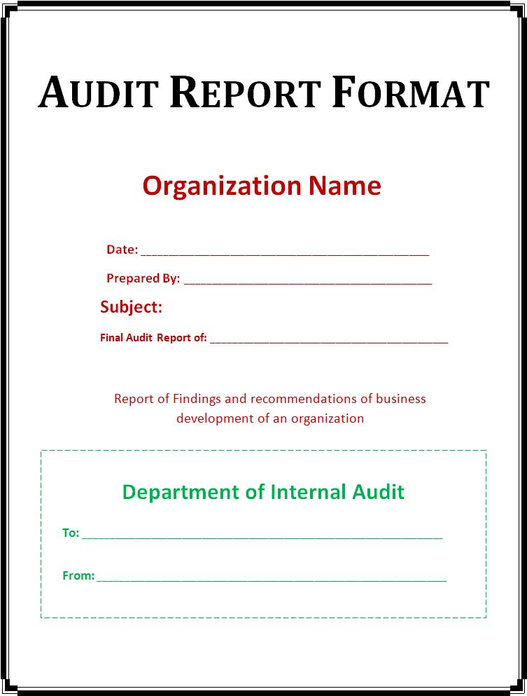 Audit Report Template  Free Word Templates