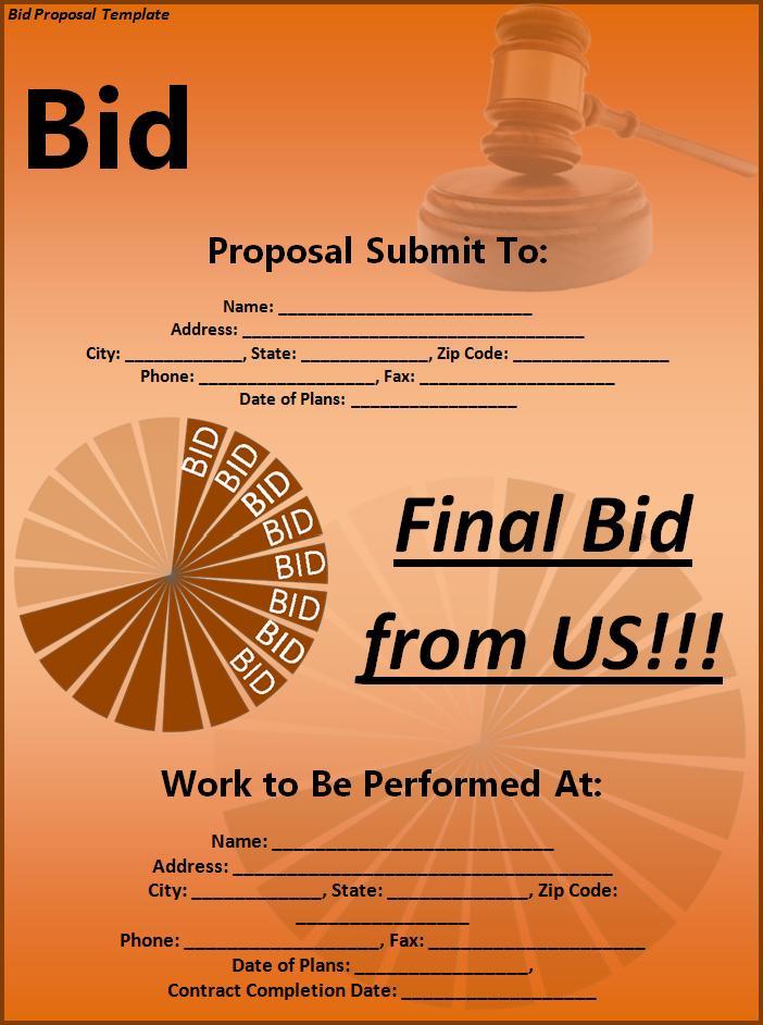 free construction bid proposal template download
