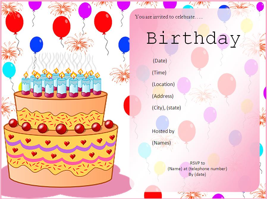 Birthday Invitation Templates Free Word Templates