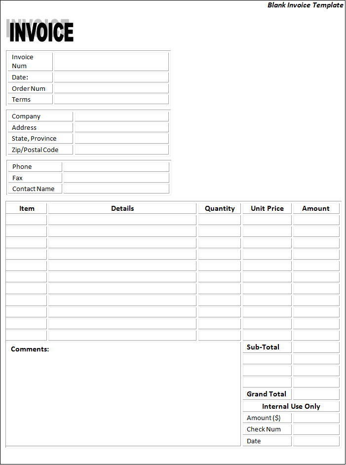 fill in invoice template – neverage, Invoice templates
