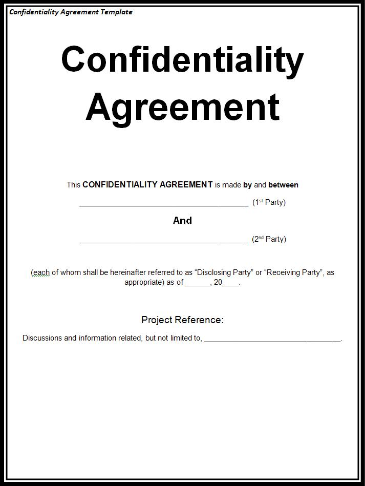 Confidentiality agreement template free word templates for Basic nda template