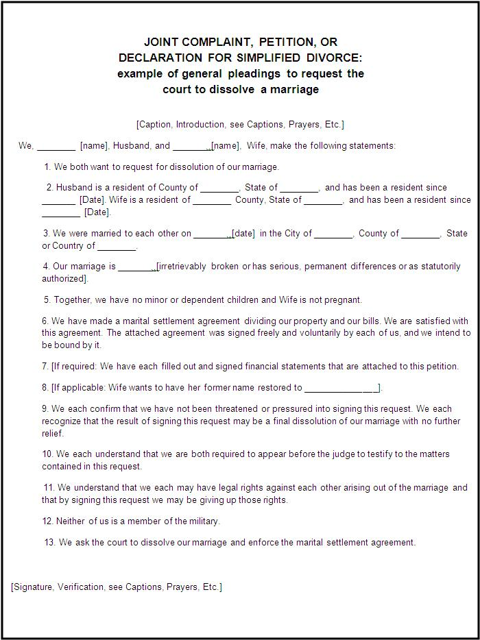 Divorce Forms | Free Word Templates