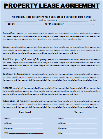 Renting Contract Template. 8 lease contract templates free sample ...