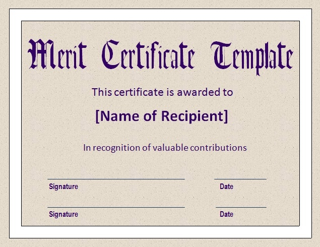 Free Word Templates  Merit Certificate Comments