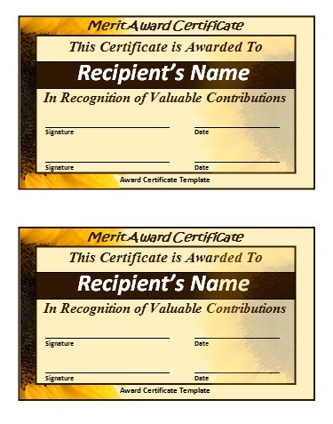 Merit Certificate Template  Free Word Templates