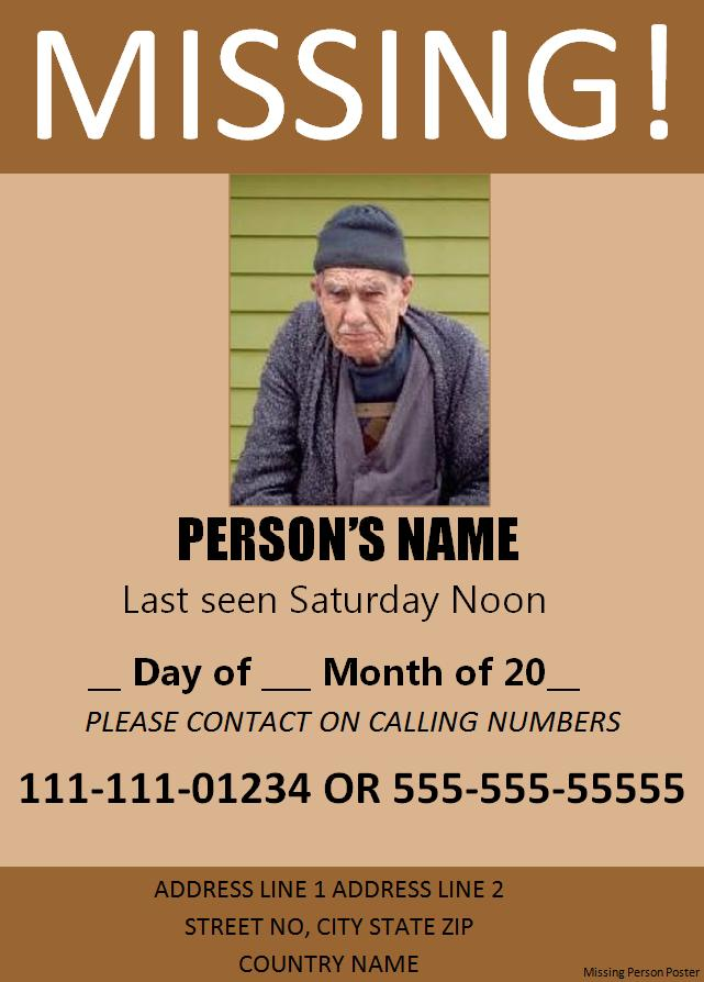 missing person flyer missing person poster template missing – Missing Child Poster Template