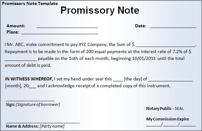 Promissory Note Templates  Printable Word  Excel Templates