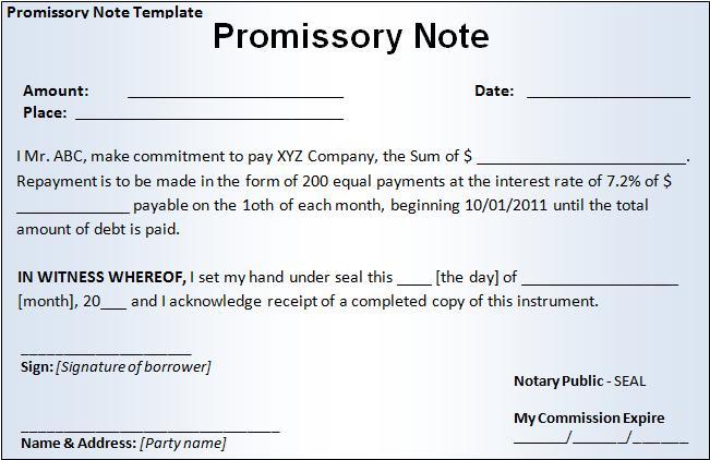 promissory note template 12  Promissory Note Templates | Word, Excel