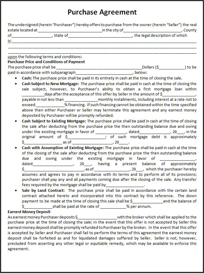 Purchase Agreement Template  Free Word Templates