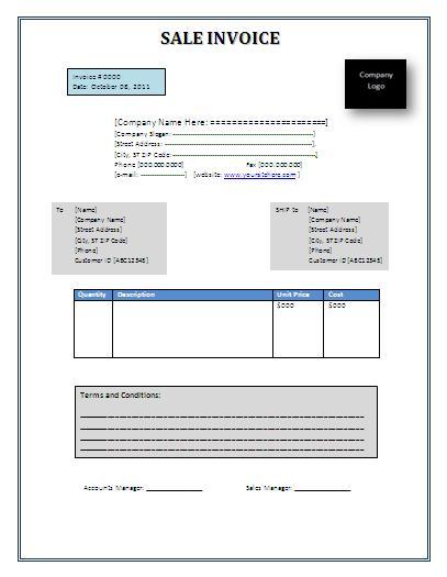 Sample Sales Invoice | Free Word Templates
