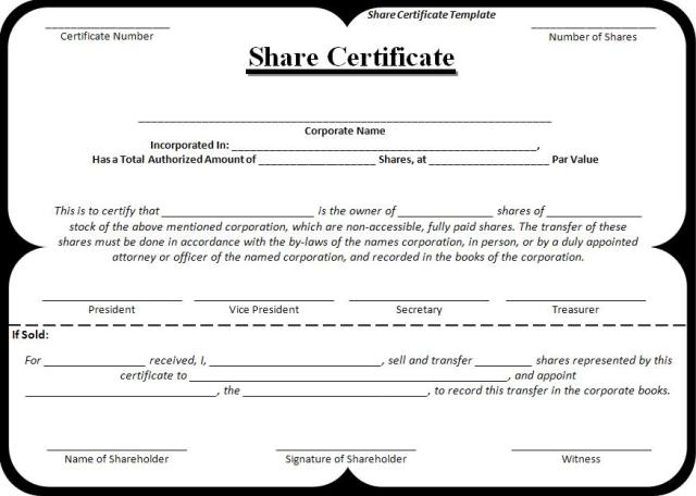 Share Certificate Template – Shareholder Certificate Template