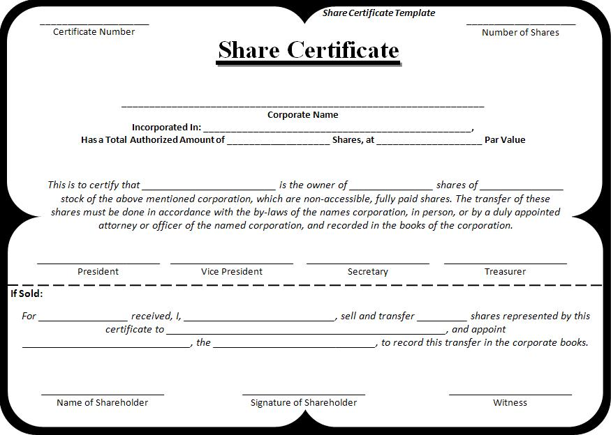 Exceptional Template Of Share Certificate Intended For Example Of Share Certificate
