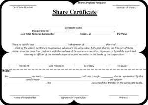 Share certificate template free word templates share certificate template yadclub Gallery