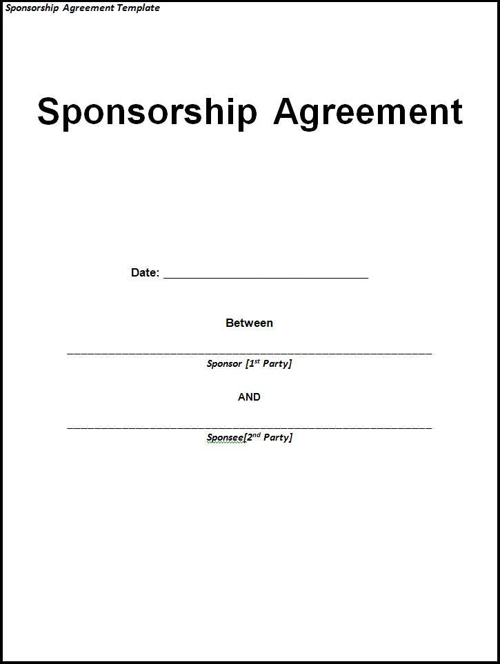 Sponsorship Agreement Templates  Printable Word  Excel Templates