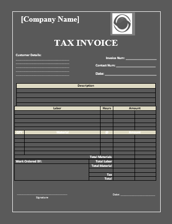 tax invoice sample in word format