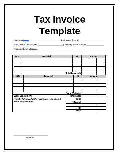 Invoice Templates Free Word Templates
