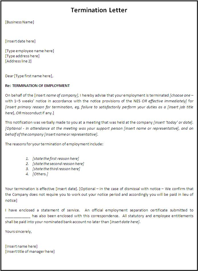 Termination Letter Format  Free Word Templates