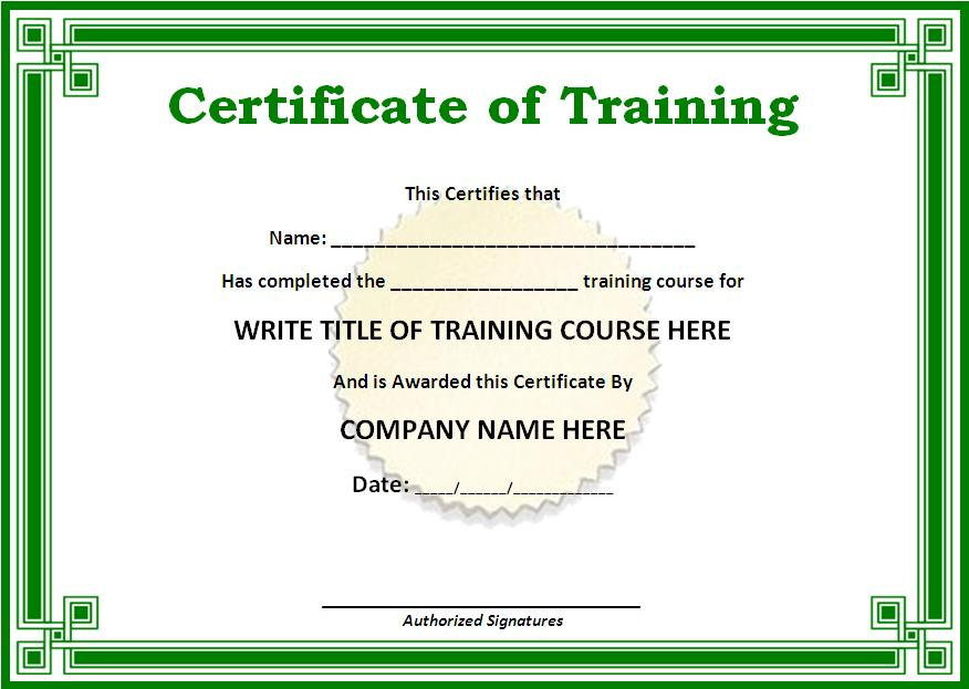 Training certificate template free word templates yadclub Gallery