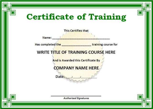 Training certificate template free word templates yadclub Image collections
