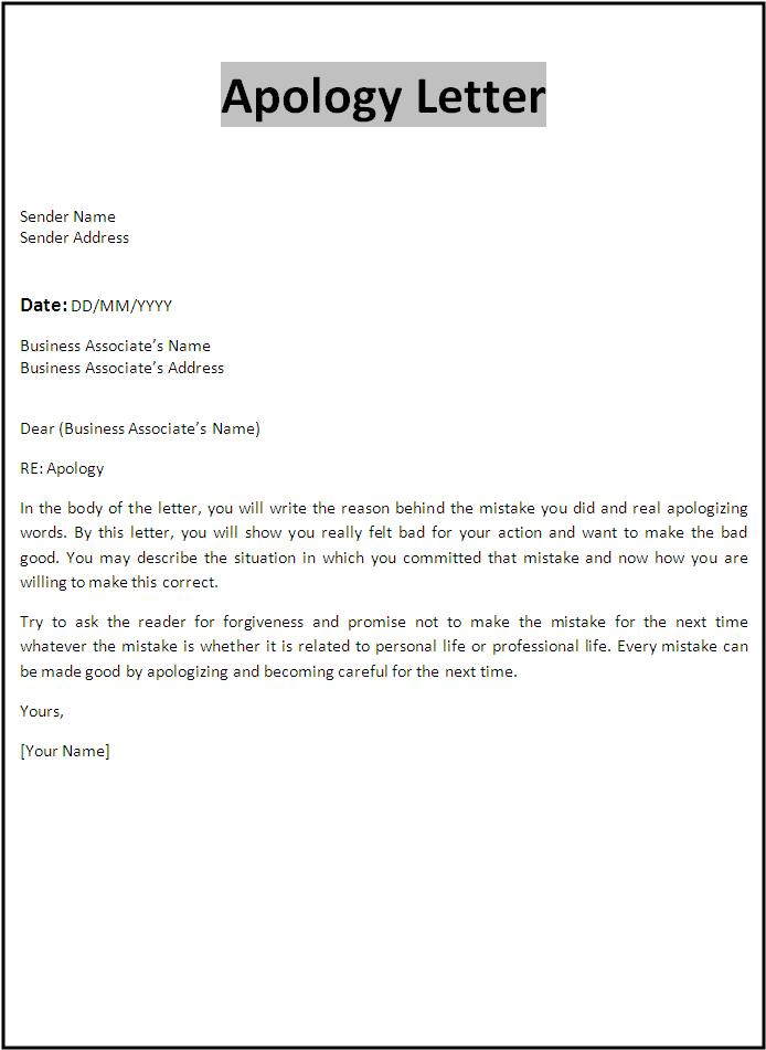 apology letter template free template cover letter for resumes