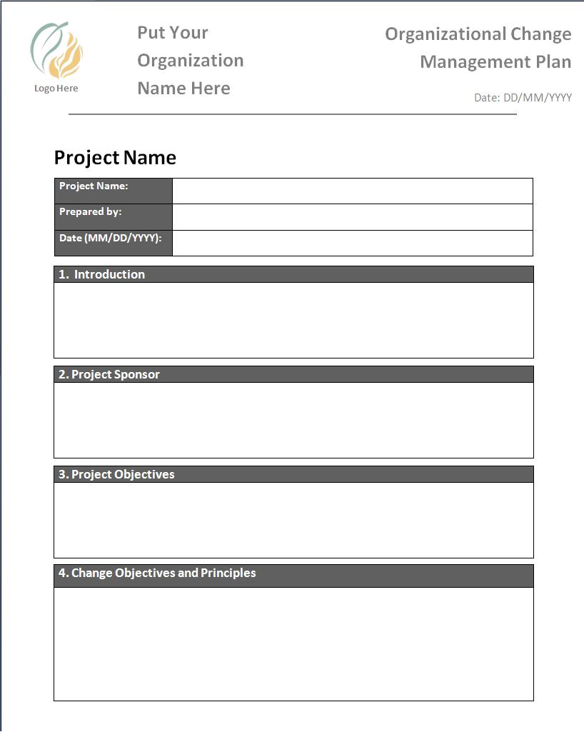 Change Management Plan Templates  Printable Word  Excel Templates