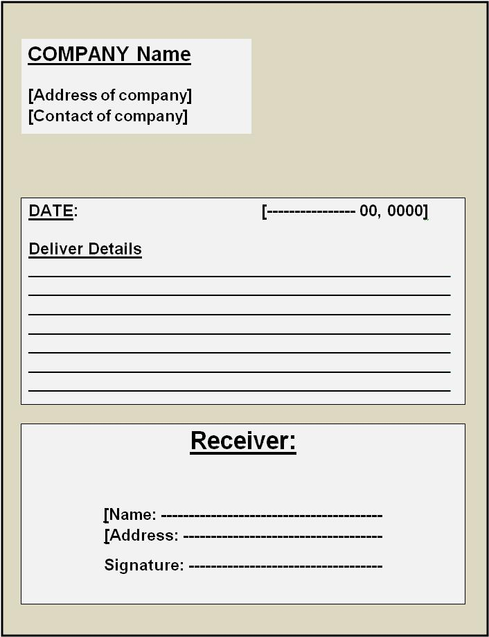 Delivery Receipt Template | Printable Word & Excel Templates