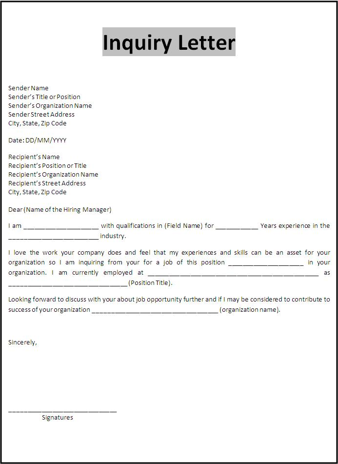Inquiry Letter Template  Example Inquiry Letter