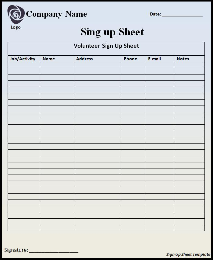 Signup Sheet Template  Blank Sign Up Sheets