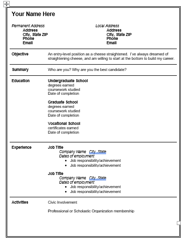 teacher resume template free word templates