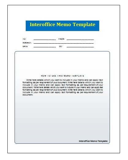 Interoffice Memo Template  Example Of An Interoffice Memo
