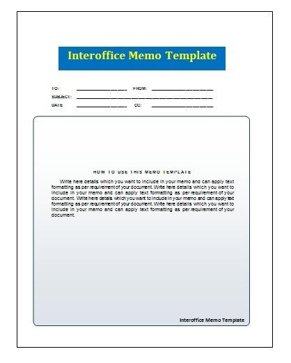 Interoffice Memo Template