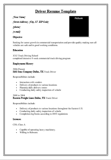 Driver Resume Template