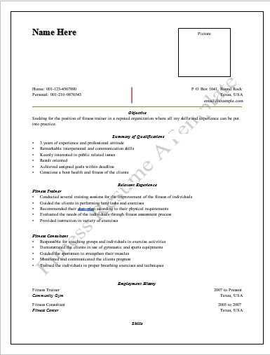 Fitness Trainer Resume Template  Personal Trainer Resume Template