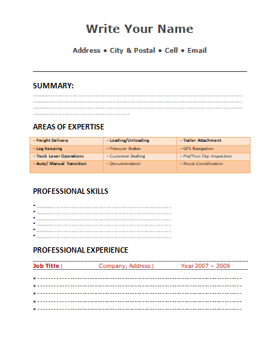 Word Truck Driver Resume Template Free Word Templates