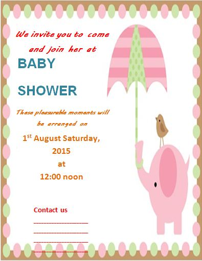 Baby Shower Invitation Template | Free Word Templates