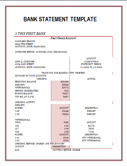 Printable Bank Statement Template – Template Bank Statement