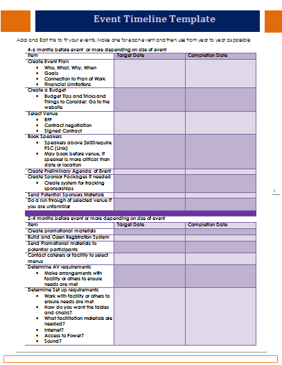 day of event timeline template | Free Word Templates