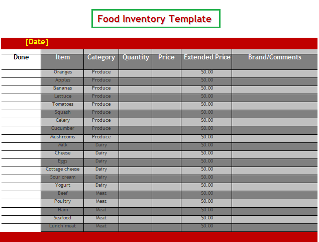 Food Inventory Template | Free Word Templates